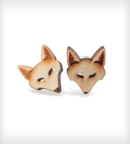 Wooden Fox Earrings