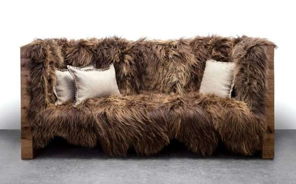 rustic sheepskin sofas animal fur sofa. Black Bedroom Furniture Sets. Home Design Ideas