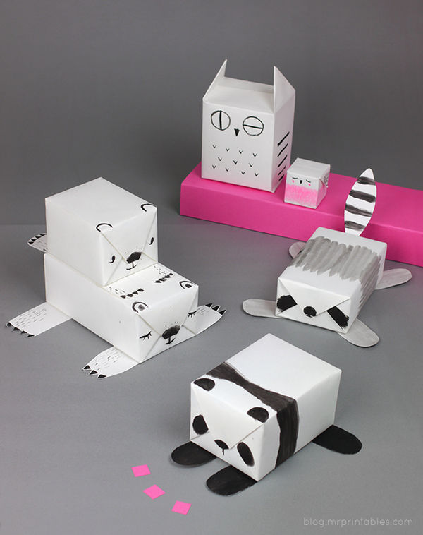 Achromatic Animal Gift Wrap
