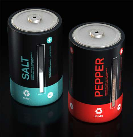 Geektastic Kitchenware: Battery Salt and Pepper Shakers by Antrepo Design