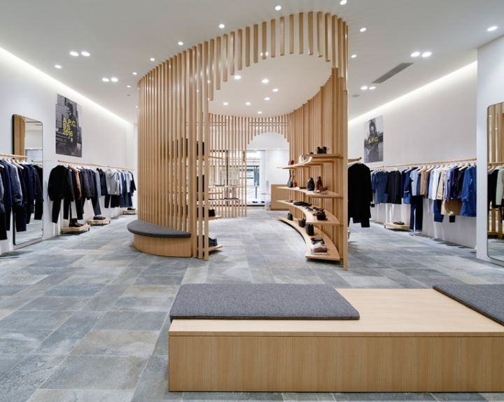 Vertical latticed retail interiors apc kyoto for Fashion retail interior design