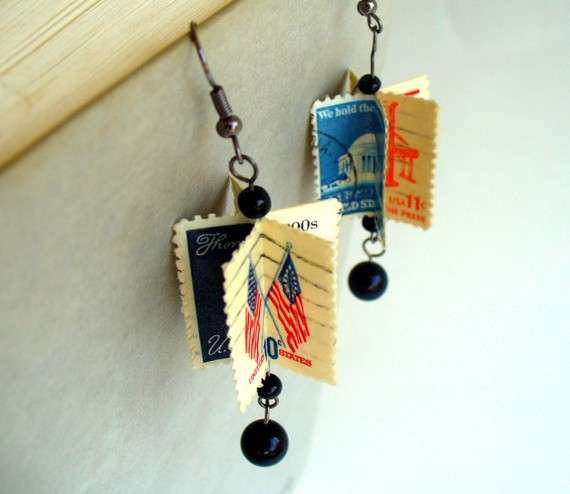 Postage Stamp Earrings