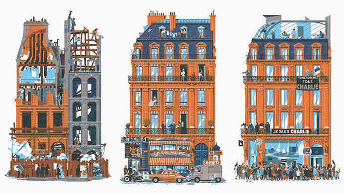 Nostalgic Architectural Illustrations