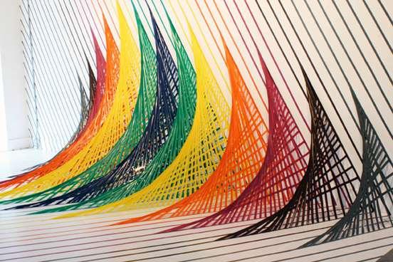 Rainbow Tape Art Vibrant And Dazzling Installation Work