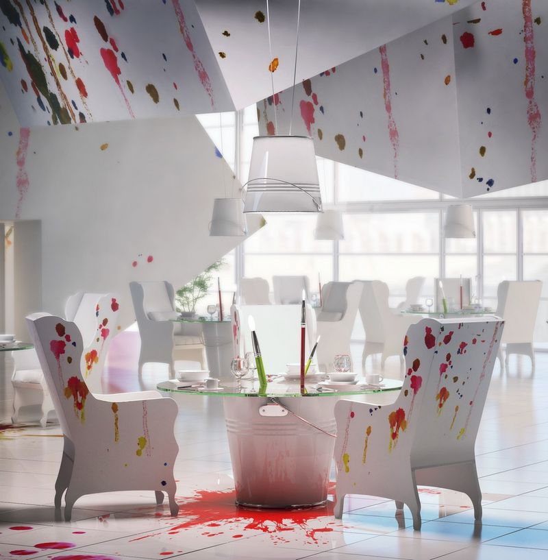 Art Designs: Paint-Splattered Bistros : Art Studio Design
