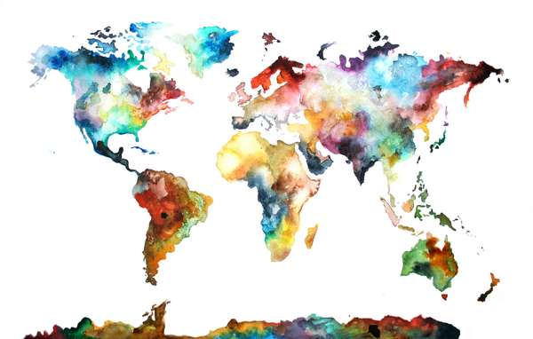 World Map Wallpapers Artsy Wallpapers Pictures Free Download: Vibrant Artistic Atlases : AudreyDeFord Watercolor Map