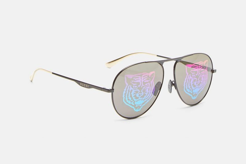 Iridescent Tiger-Motif Sunglasses