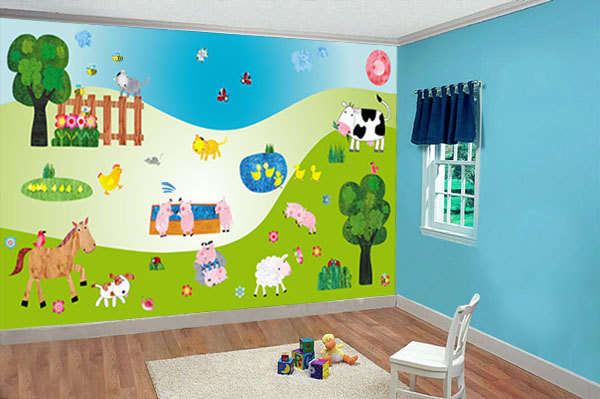 Vibrant nursery decor stickers baby room wall decals for Baby room decoration games online