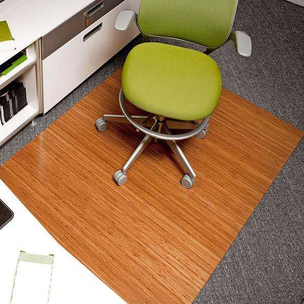 Woodsy Office Floor Rugs Bamboo Roll Up Office Mat