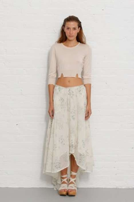 Notched Neutral Crop Tops