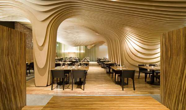 Wooden Wave Diners The Banq Restaurant In Boston Is A