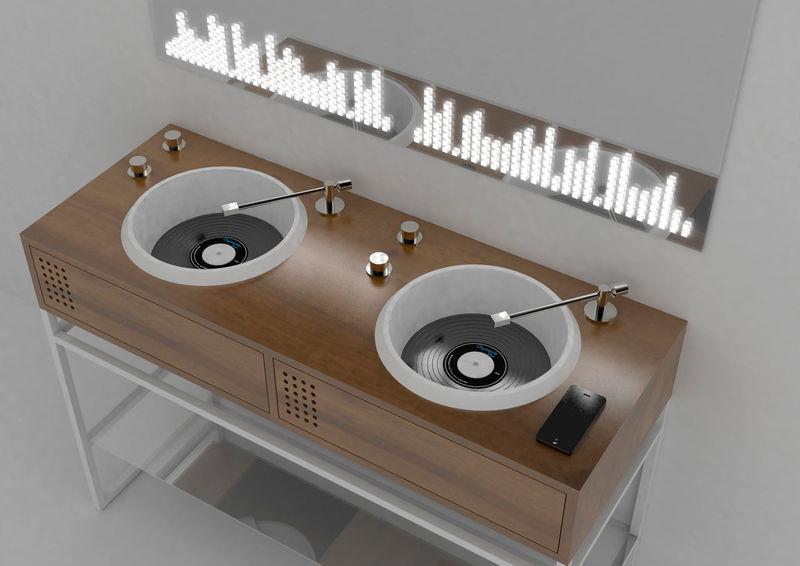 Vinyl-Inspired Bathroom Sink Designs