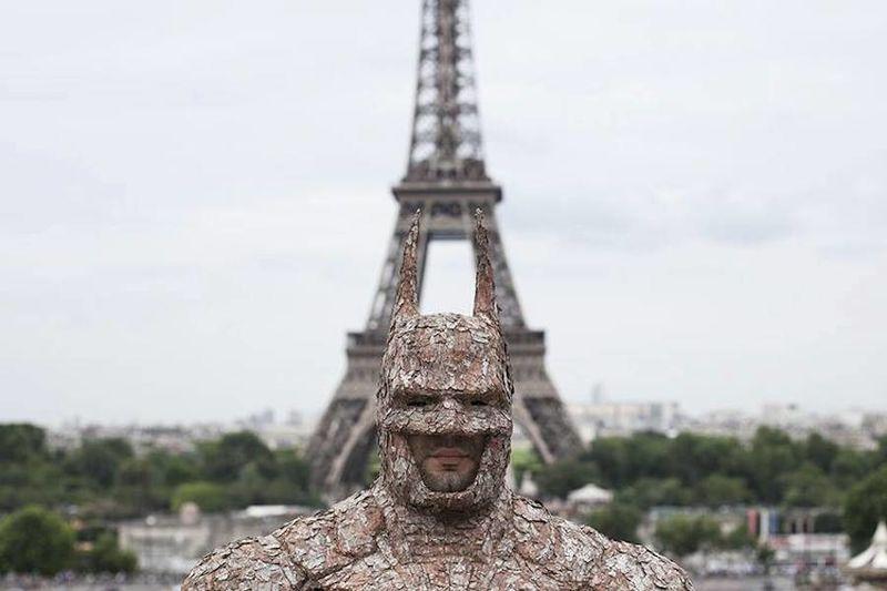 Wooden Superhero Sculptures