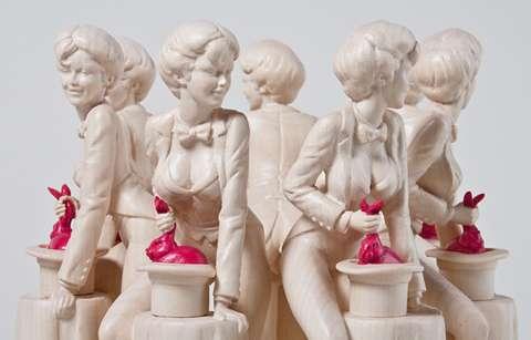 Chiseled Female Magician Statues