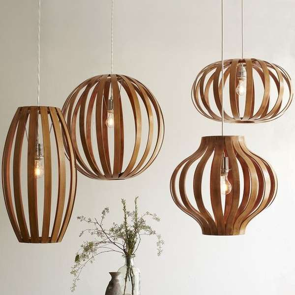 Wooden Oblong Shaped Lighting Bentwood Pendants