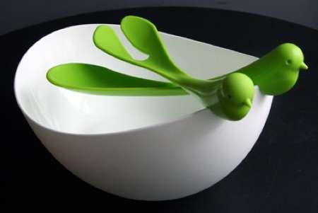 Flighty Fowl Dishware : Bird Salad Bowl
