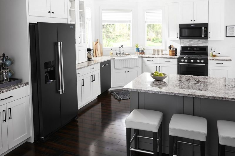Cast Iron-Inspired Appliances : black kitchen appliance
