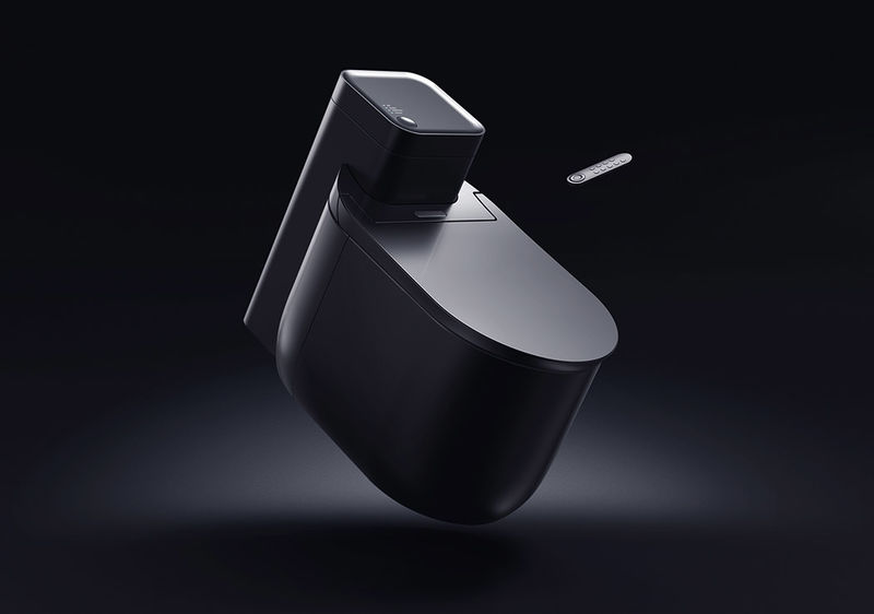 Remote-Controlled Toilets : black toilet
