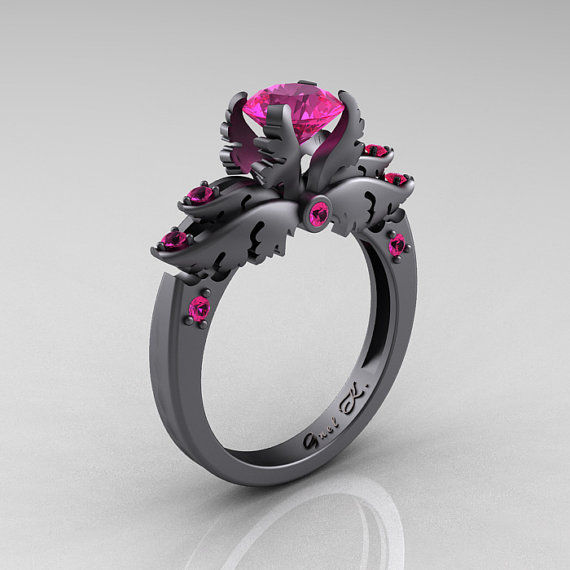 darkly angelic wedding rings - Anime Wedding Rings