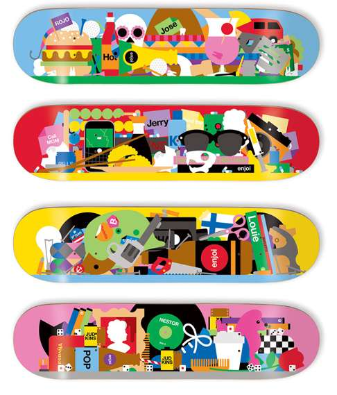 Cluttered Graphic Skate Decks