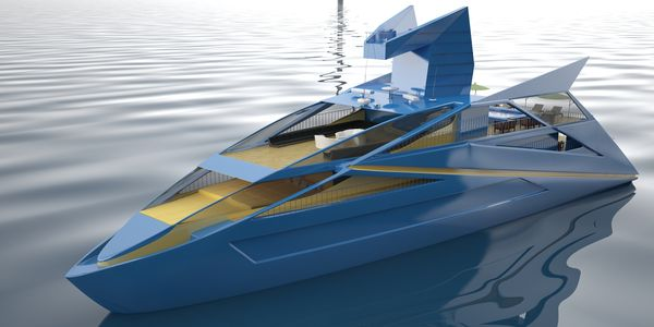Sleek Origami Superyachts Blue Boat