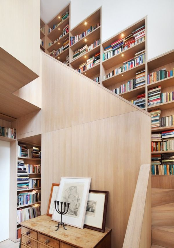 Architectural Staircase Bookshelves