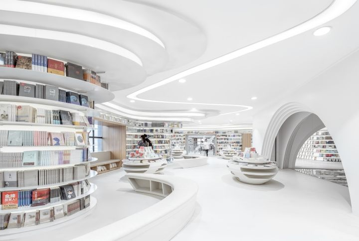 All-White Curvaceous Bookstores
