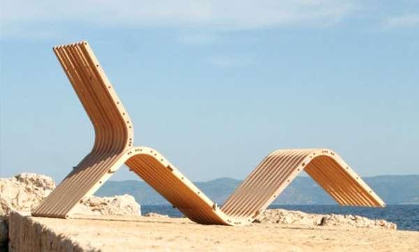Wooden Boomerang Loungers