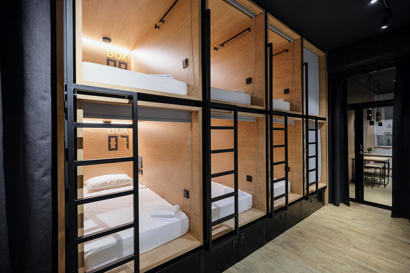 Modern capsule hotels box hotel for Modern hostel building design