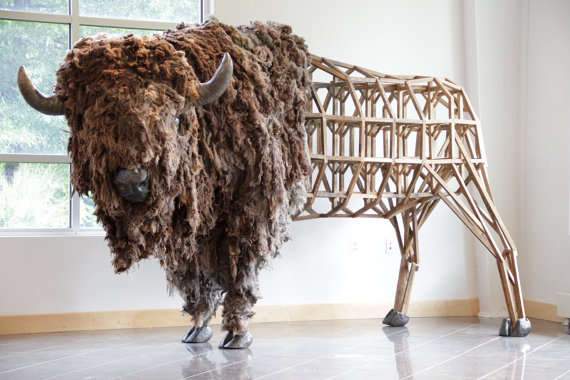 Woven Cattle Art Buffalo Sculpture