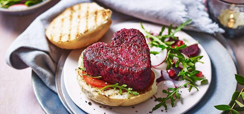 Heart-Shaped Beetroot Burgers
