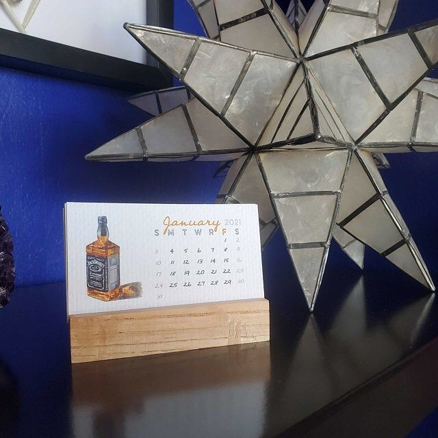Mini Watercolor Alcohol-Themed Calendars