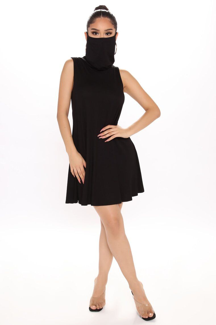 Mask-Integrated Hourglass Dresses