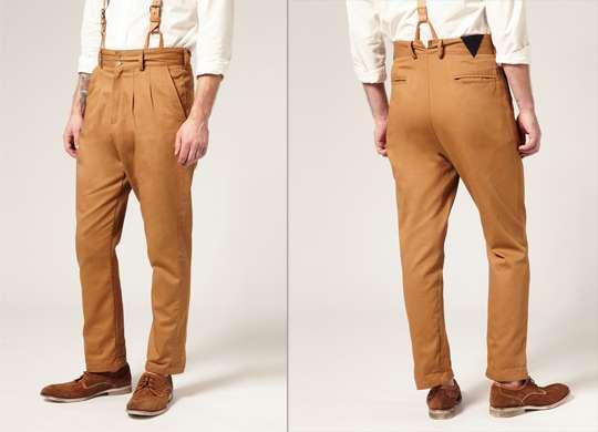 High Waisted Pleated Pants Camo Vento Trousers