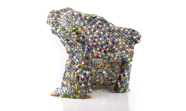 Bottle Cap Covered Chairs