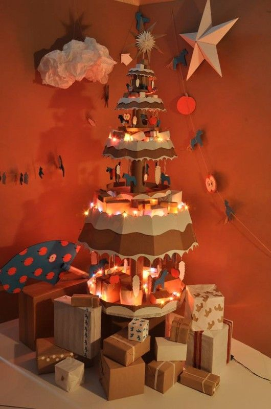 cardboard christmas tree alternatives - Cardboard Box Christmas Decorations