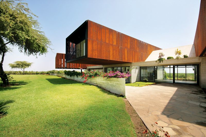 Cantilevered Corten-Clad Constructs