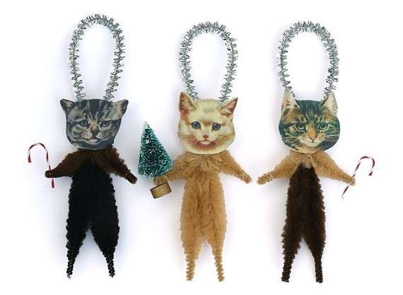 Bobble Head Kitten Ornaments : Cat Christmas Tree Ornaments