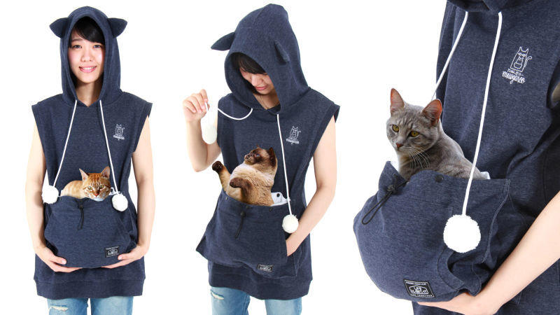 Cat-Carrying Hoodies