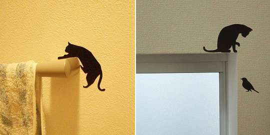 playful pet wall decals : cat wall stickers