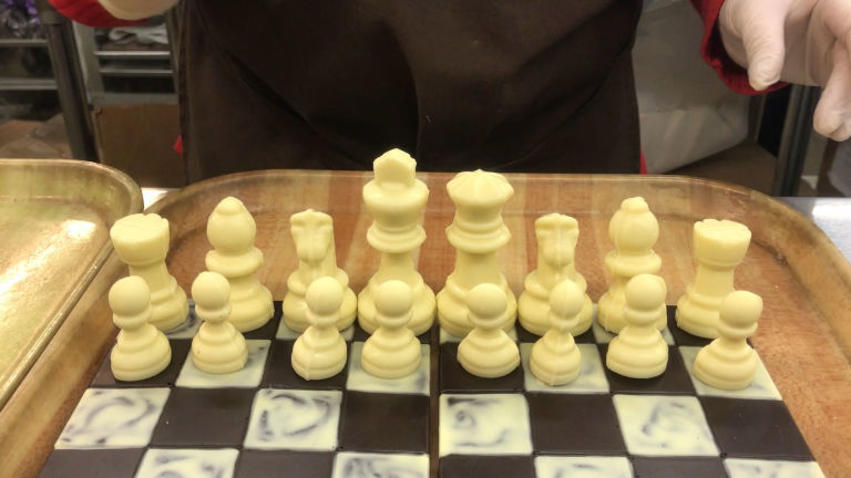 Hand crafted chocolate chess sets chocolate chess set for Hand crafted chess set
