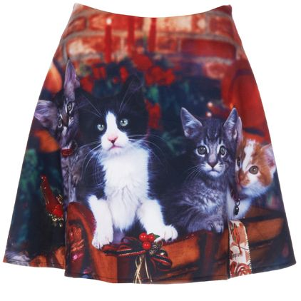 Cuddly Christmas Cat Skirts