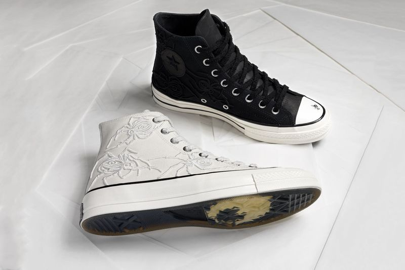 Insect-Embroidered High-Top Sneakers