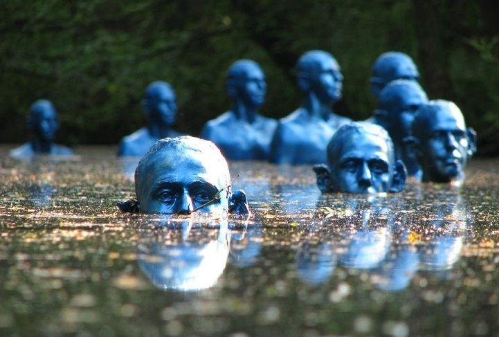 Poignant Sinking Statues