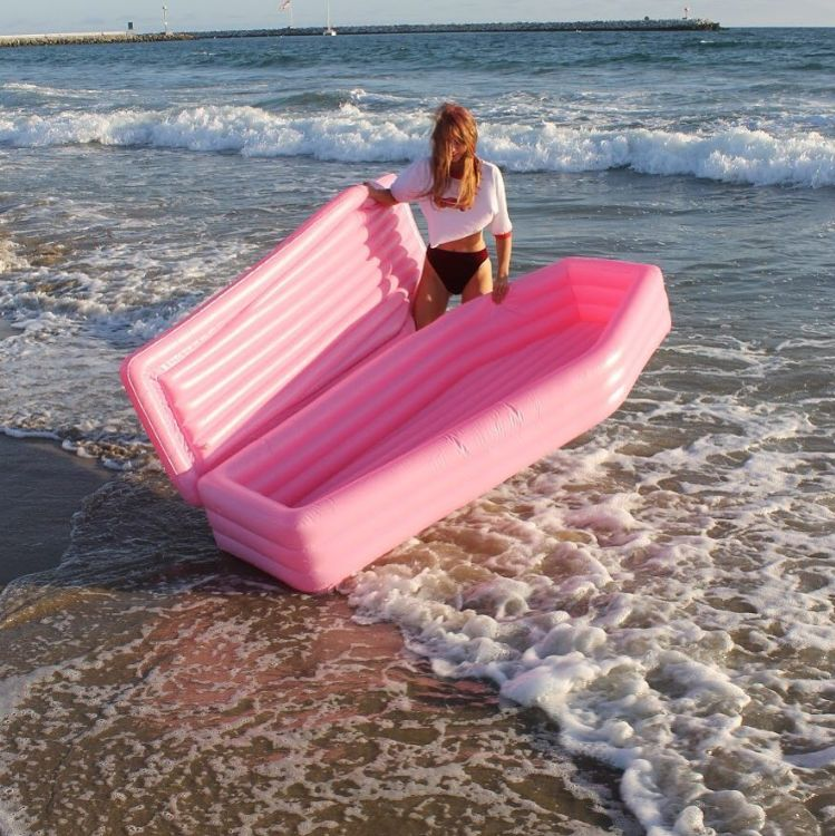 Pink Coffin-Shaped Pool Floats