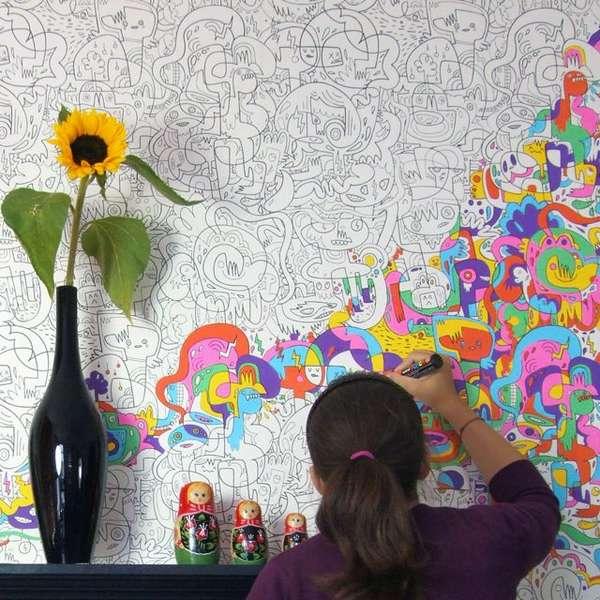Diy Cartoon Wall Treatments Color In Wallpaper
