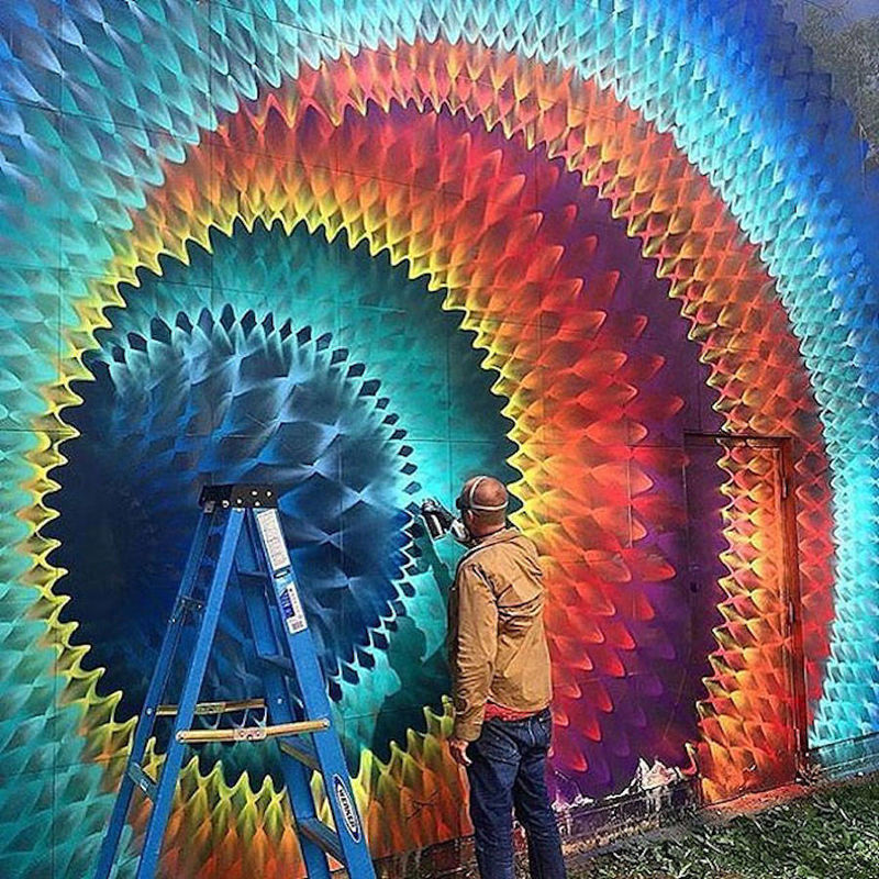 Multidimensional kaleidoscopic murals colorful art mural for Art mural painting