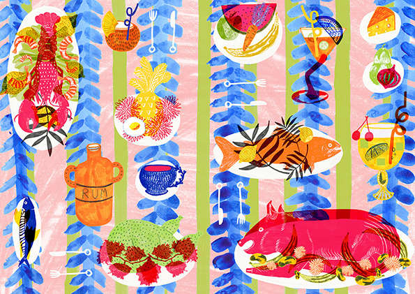 Picnic-Patterned Drawings