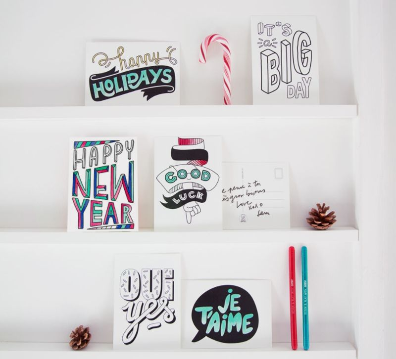 Color-In Postcards