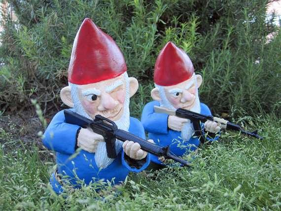 Gun-Toting Lawn Soldiers